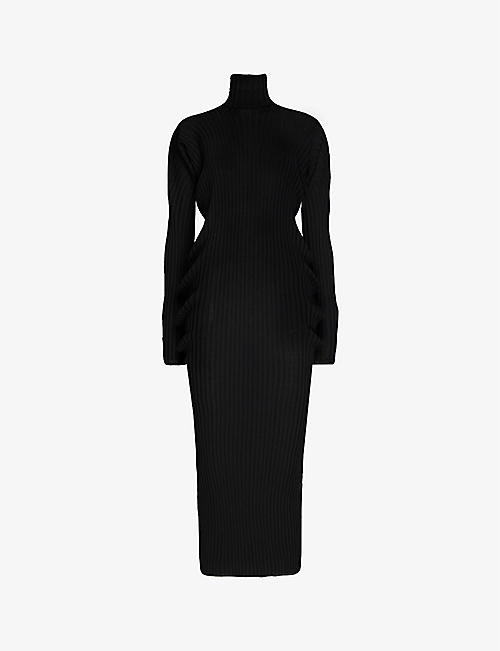 BOTTEGA VENETA: Turtleneck ribbed wool maxi dress