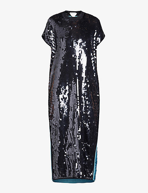 BOTTEGA VENETA: Two-tone sequinned midi dress