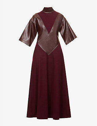 ROKSANDA: Erdea flared-hem wool and faux-leather maxi dress