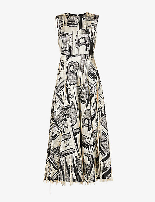 ROKSANDA: Sylvie graphic-print satin-twill maxi dress