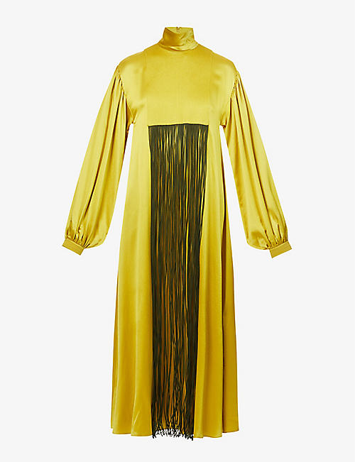 ROKSANDA: Zina fringed-trim silk maxi dress