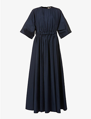 ROKSANDA: Manu braided-waist cotton midi dress