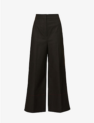 ROKSANDA: Hasani cropped wide-leg high-rise stretch-cotton trousers
