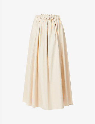 ROKSANDA: Allegra braided-trim high-waist cotton midi skirt