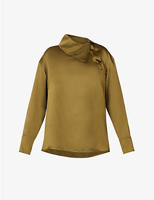 ROKSANDA: Sierra asymmetric collar silk top