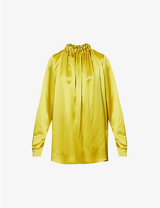 ROKSANDA: High-neck gathered-neckline silk top