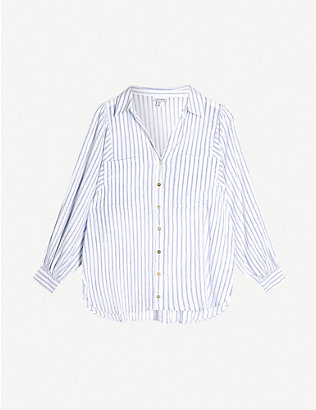 TOPSHOP: Casual stripe loose-fit cotton shirt