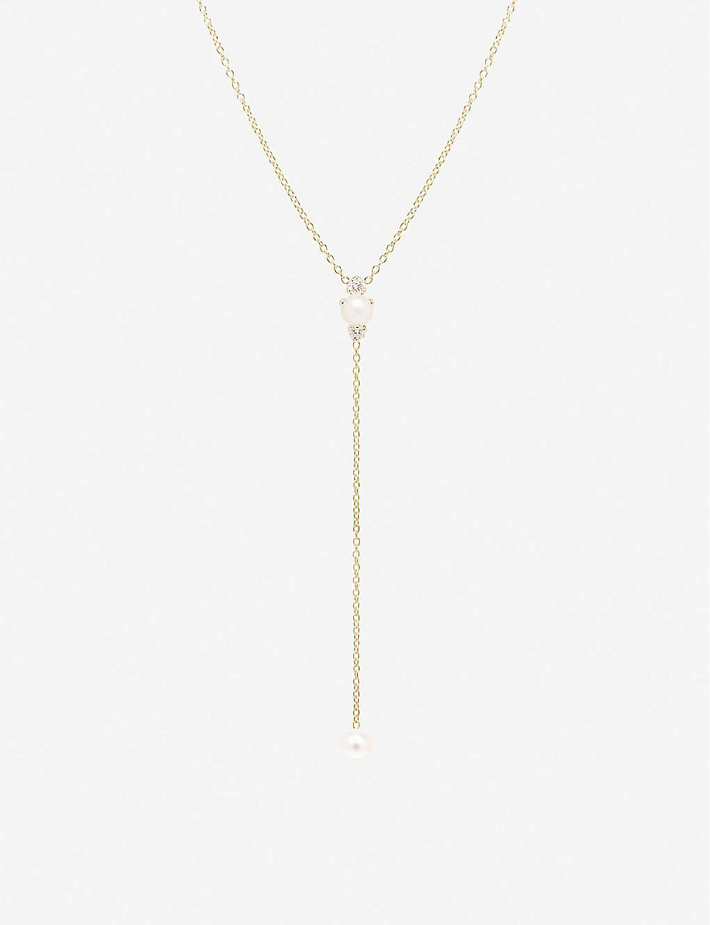 THE ALKEMISTRY: Zoë Chicco 14ct yellow-gold, freshwater pearl and diamond lariat necklace