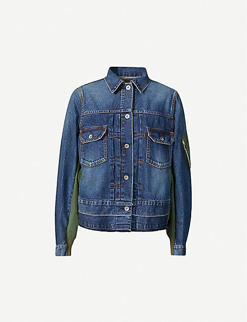 SACAI: Contrast-panel denim jacket