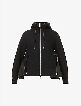 SACAI: Panelled cotton-jersey and shell hoody