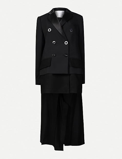 SACAI: Asymmetric double-breasted wool-blend coat