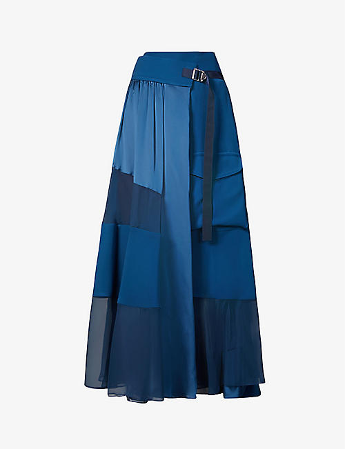 SACAI: Contrast-panel wrap-over woven midi skirt