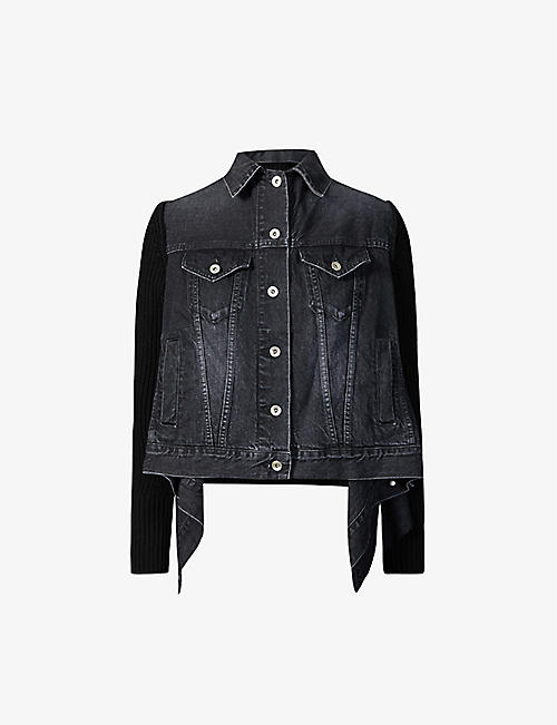 SACAI: Asymmetric denim and wool-blend jacket