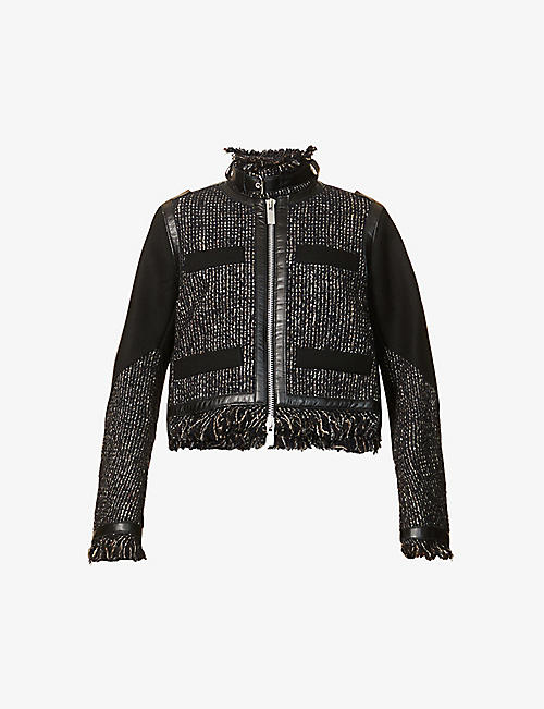 SACAI: Contrast-panel wool-blend jacket