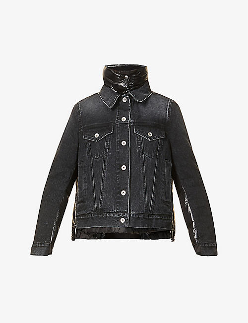 SACAI: Contrast-panel shell and denim jacket