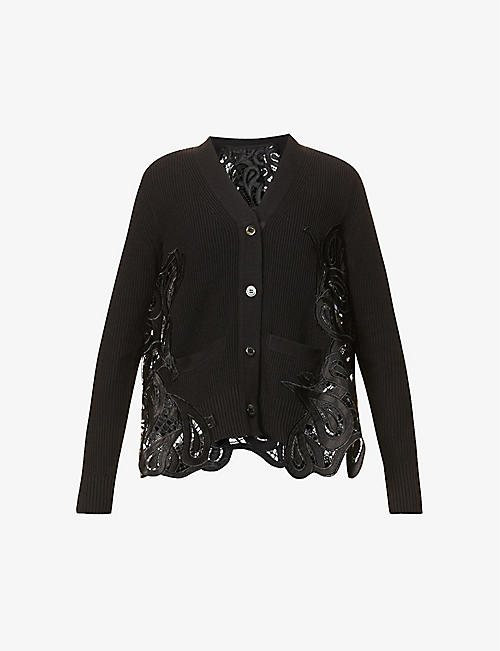 SACAI: Contrast-panel cotton-blend knit and lace cardigan
