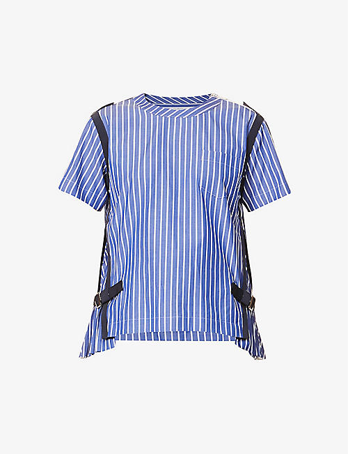 SACAI: Striped pleated cotton-poplin T-shirt