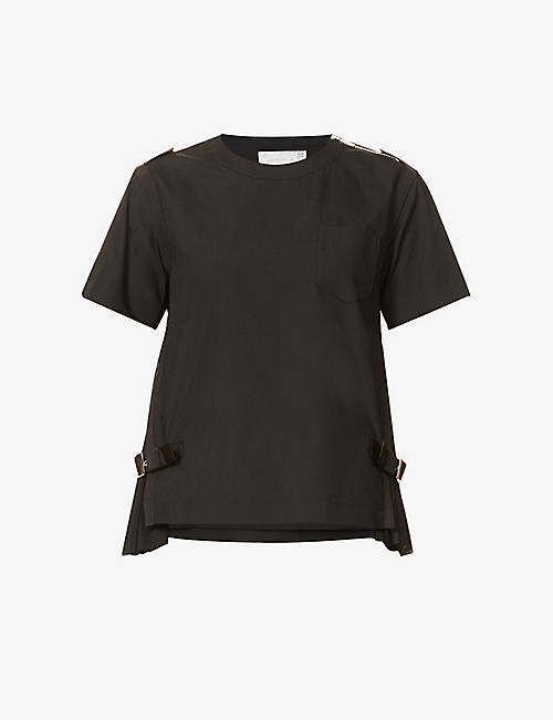 SACAI: Pleated-insert woven T-shirt