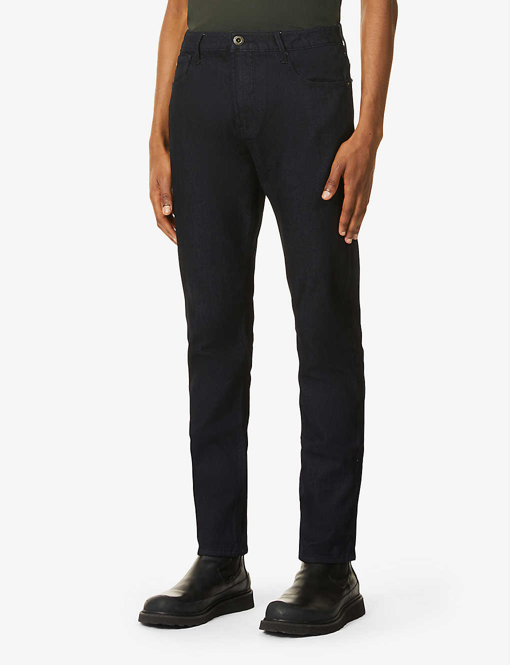 EMPORIO ARMANI: Mid-rise tapered stretch-denim jeans