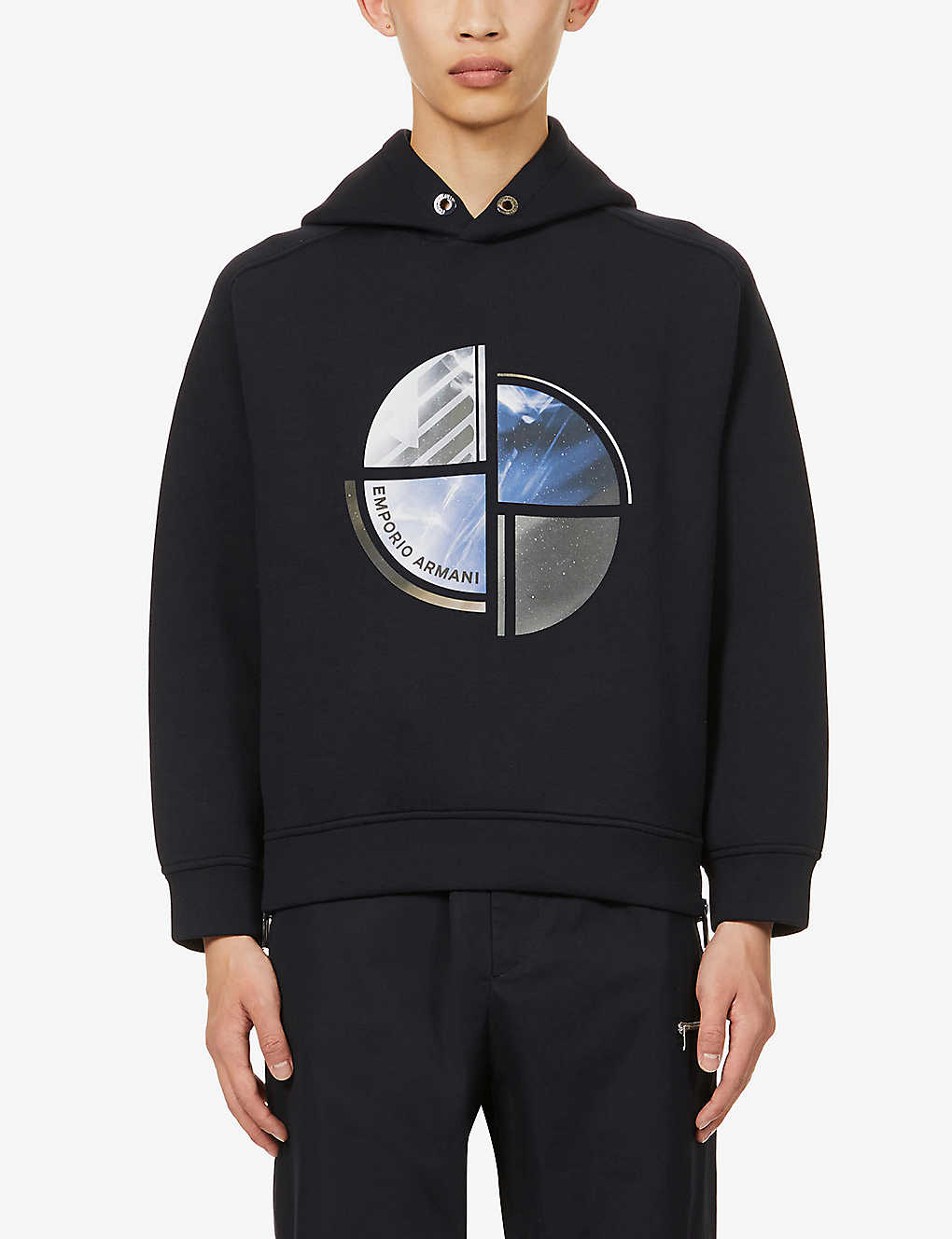 EMPORIO ARMANI: Abstract-print stretch-jersey hoody