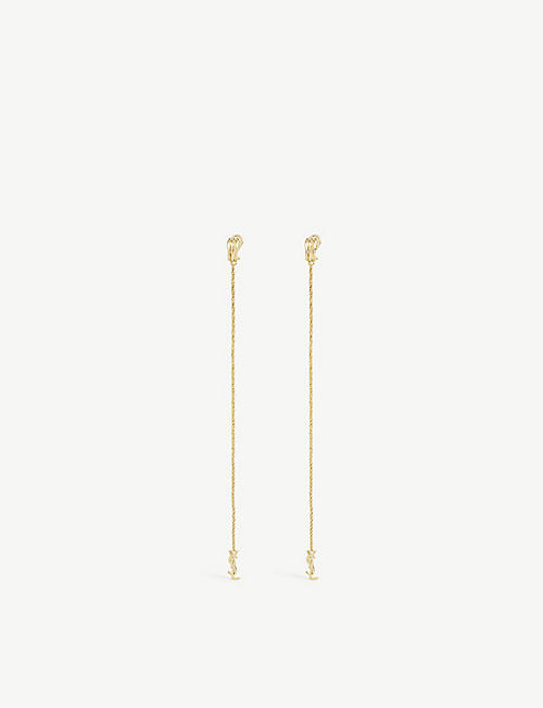 SAINT LAURENT: Opyum monogram brass earrings