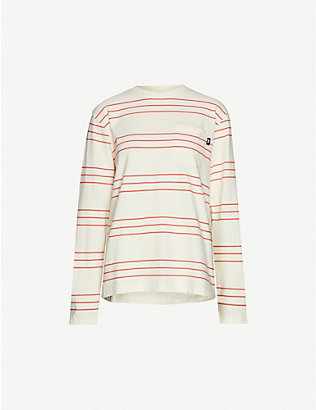 STUSSY: Trinity striped cotton-knit top