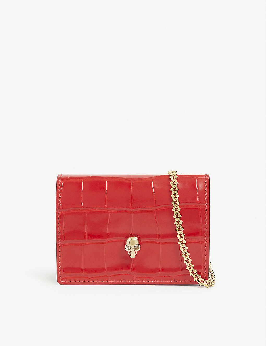ALEXANDER MCQUEEN: Crocodile-embossed leather cardholder with gold chain