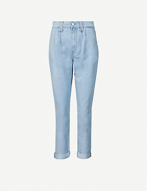 PAIGE: Pleated high-rise jeans