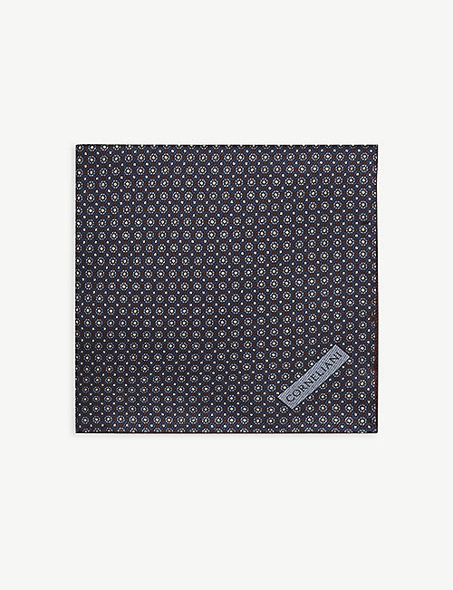 CORNELIANI: Geometric-jacquard silk pocket square 32cm x 32cm