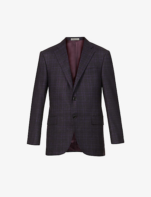 CORNELIANI: Multi-check single virgin wool jacket