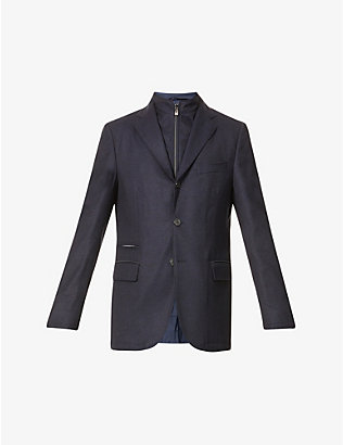 CORNELIANI: Insert-detail three-button virgin wool blazer