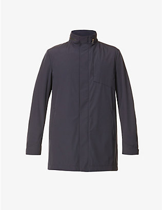 CORNELIANI: Funnel-neck shell coat