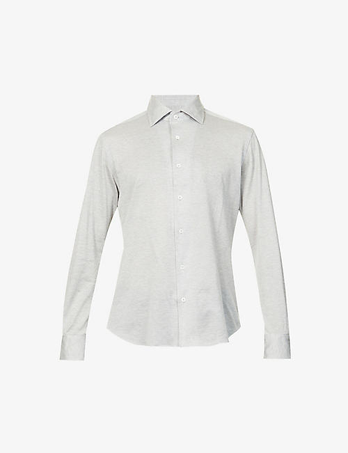 CORNELIANI: Pindot cotton-jersey shirt