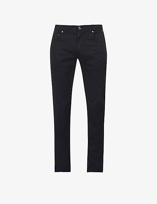 CORNELIANI: Slim-fit tapered cotton-blend trousers