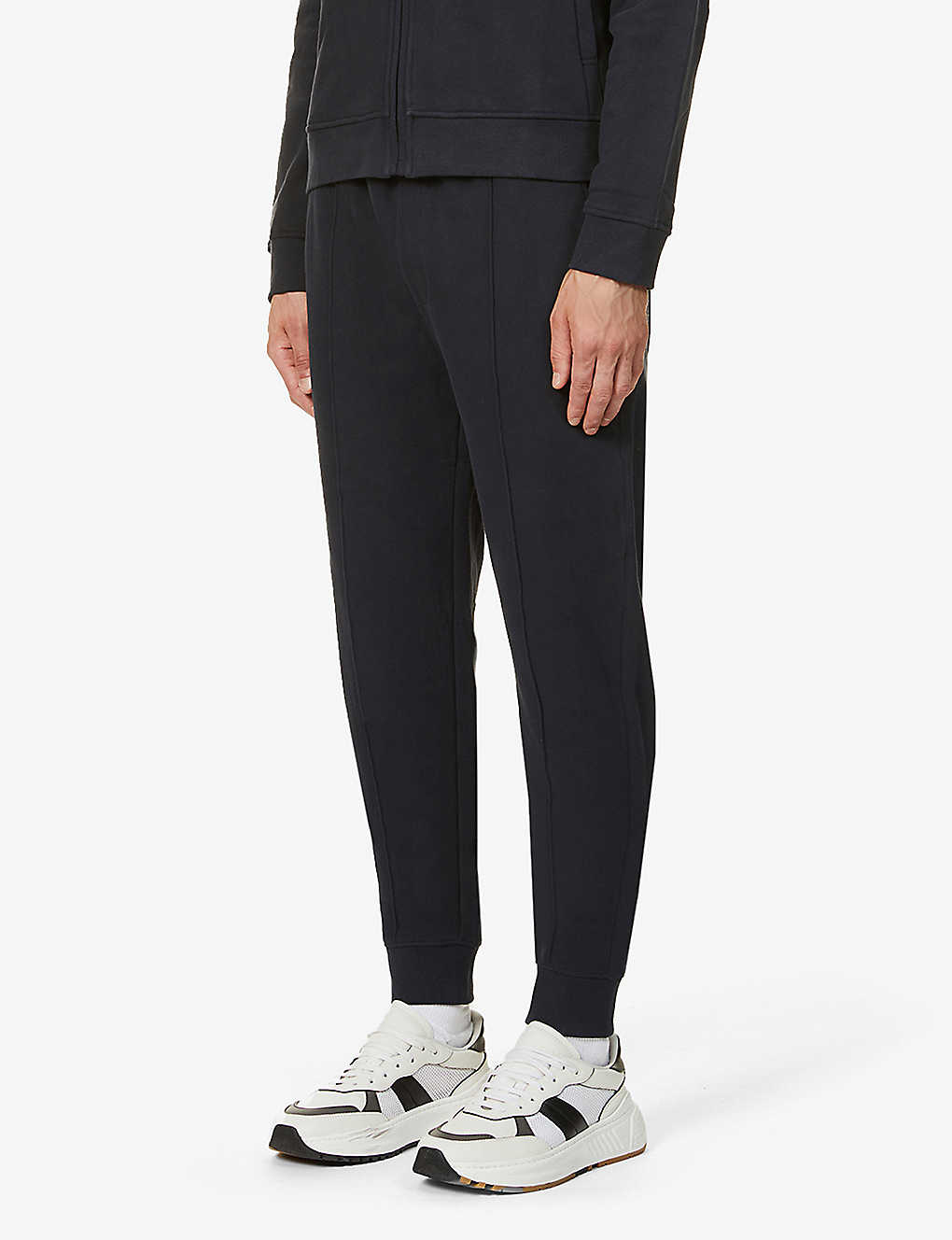 CORNELIANI: Drawstring-waistband tapered cotton-jersey jogging bottoms