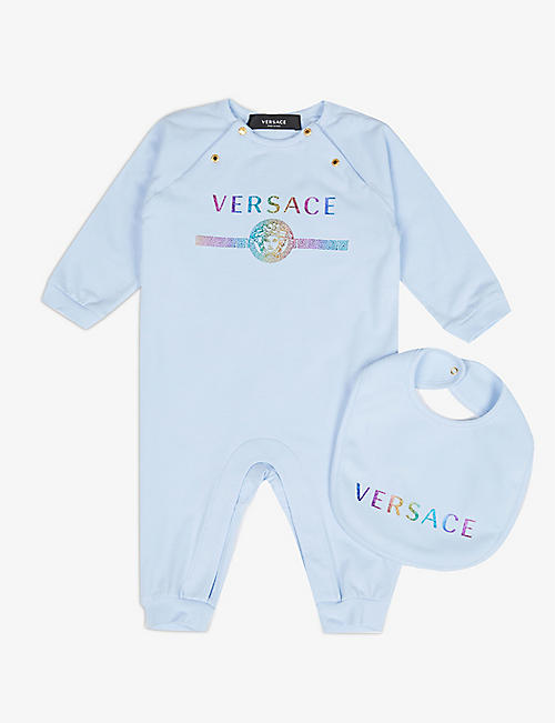VERSACE: Rainbow Medusa-logo stretch-cotton baby grow and bib set 0-12 months