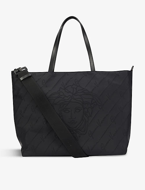 VERSACE: Logo-print reversible woven changing bag tote