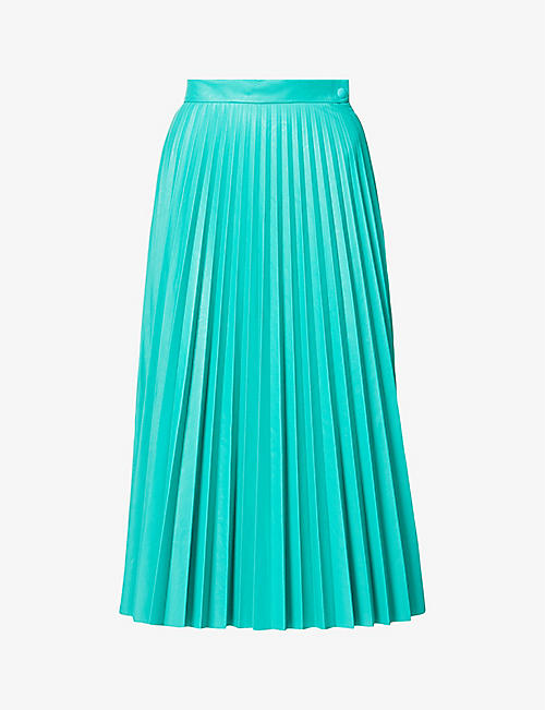 MM6 MAISON MARGIELA: Pleated faux-leather midi skirt