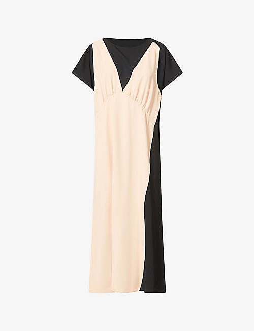 MM6 MAISON MARGIELA: Contrast panel crepe midi dress