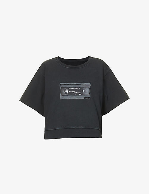 MM6 MAISON MARGIELA: Branded graphic-print cotton-jersey T-shirt