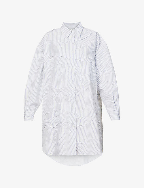 MM6 MAISON MARGIELA: Crushed striped oversized cotton shirt