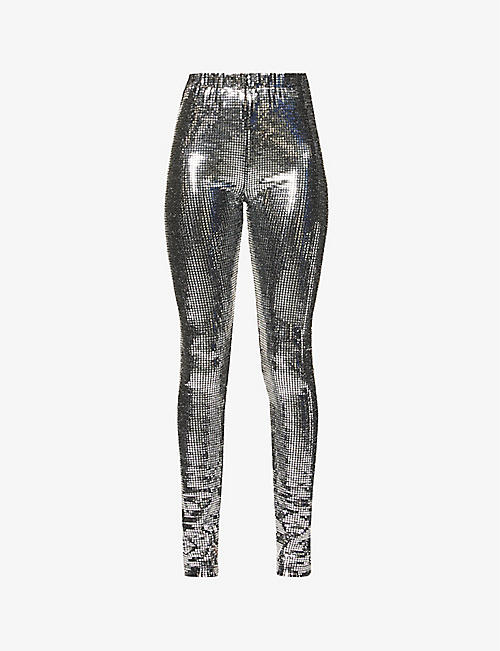 MM6 MAISON MARGIELA: Disco Ball skinny high-rise sequinned trousers