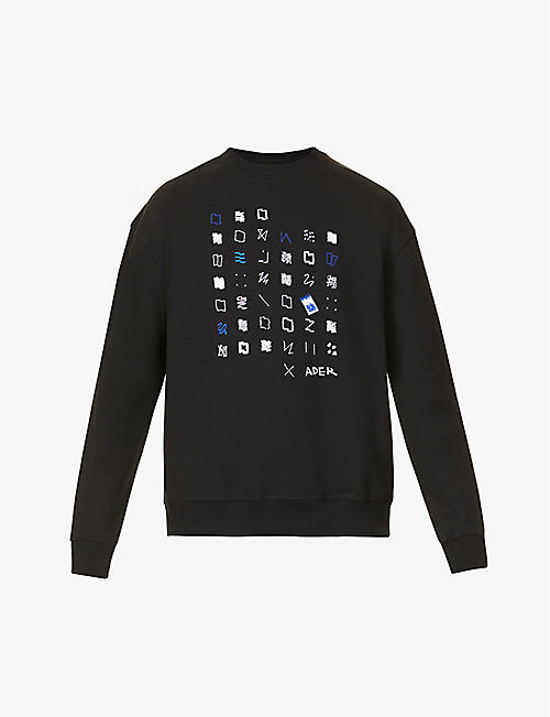 ADER ERROR: Graphic-print cotton-blend sweatshirt