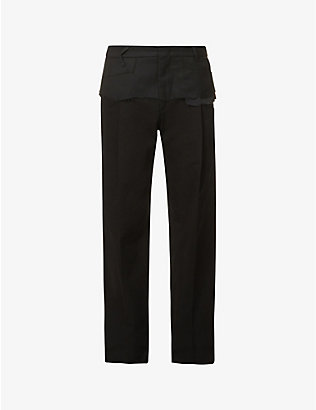 ADER ERROR: Layered high-rise regular-fit cotton-twill trousers