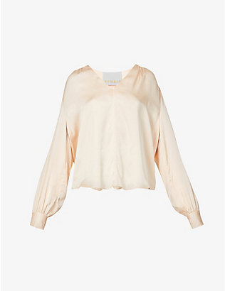 REMAIN BIRGER CHRISTENSEN: Straw V-neck crepe blouse