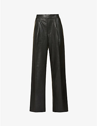 REMAIN BIRGER CHRISTENSEN: Duchesse wide-leg high-rise leather trousers