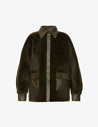REMAIN BIRGER CHRISTENSEN: Beiru puffed-sleeve leather and shearling jacket