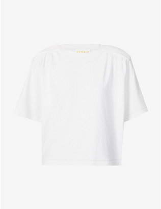 REMAIN BIRGER CHRISTENSEN: Verona padded-shoulders stretch-organic cotton T-shirt