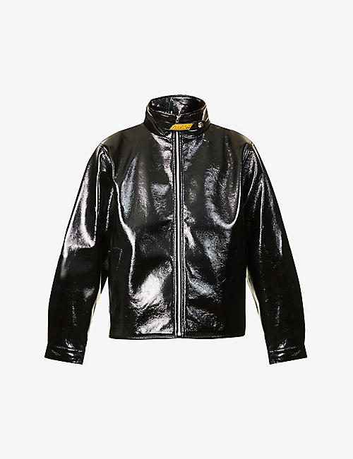 XOXOGOODBOY: Branded high-neck faux-leather jacket