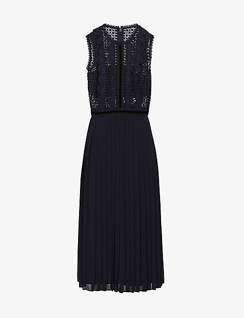 REISS: Tenley lace-panel midi dress